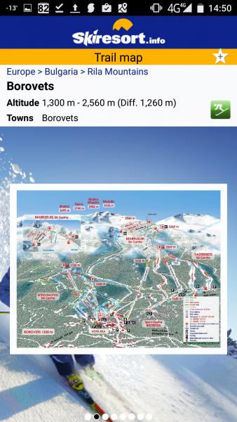 Карта на всички ски курорти и условията за ски в тях.